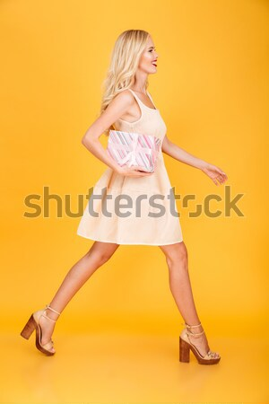 Redhead naked woman holding blank board Stock photo © deandrobot