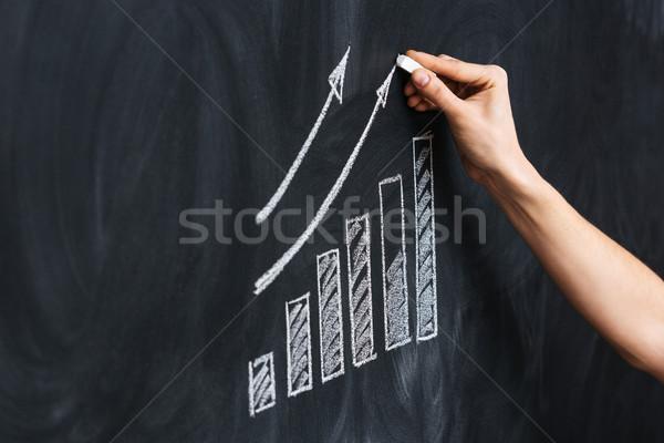 Mano disegno crescita grafico lavagna primo piano Foto d'archivio © deandrobot