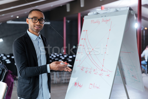 Businessman presenting something on flip chart Stock photo © deandrobot
