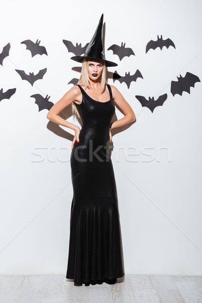Attractive young woman in black witch costume with hat Stock photo © deandrobot