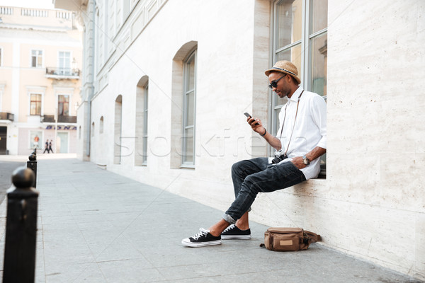 Image of cool black man Stock photo © deandrobot
