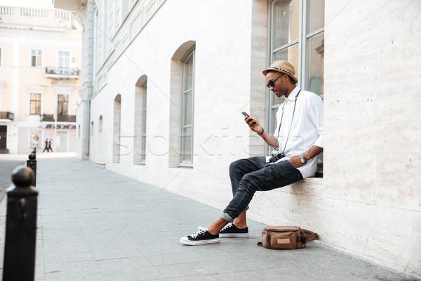 Imagen fresco hombre negro calle hombre feliz Foto stock © deandrobot
