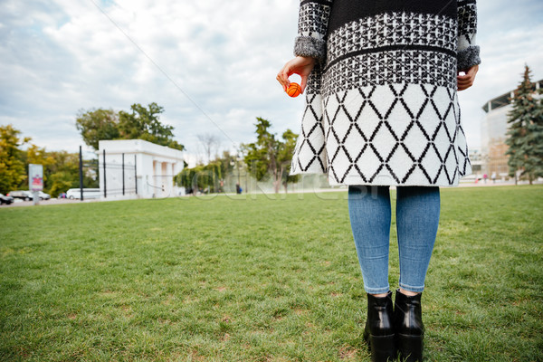 Back view of woman with small ball for her dog Stock photo © deandrobot