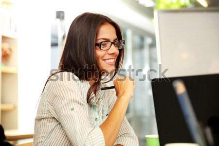 улыбаясь азиатских женщину подоконник торт очки Сток-фото © deandrobot