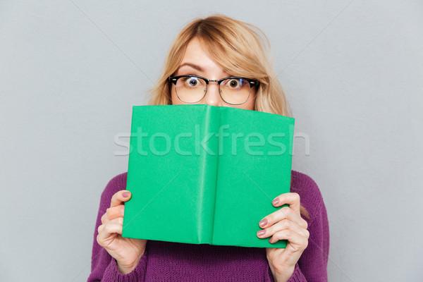 女性 隠蔽 顔 図書 眼鏡 緑 ストックフォト © deandrobot
