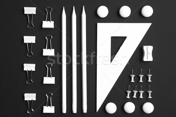 Top view image of office supplies Stock photo © deandrobot