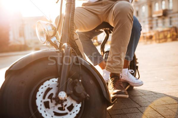 Image jeunes africaine couple modernes moto Photo stock © deandrobot