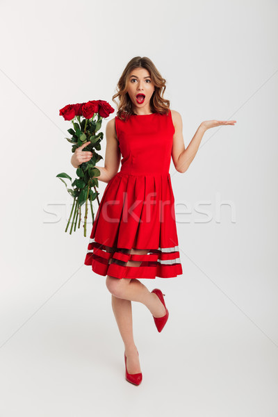Full length portrait of a surprised young woman Stock photo © deandrobot