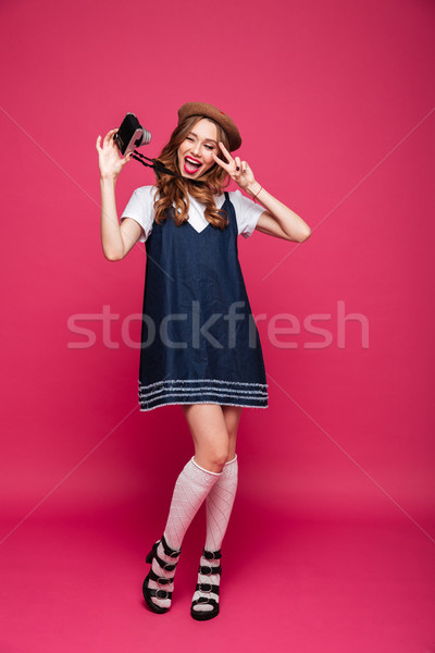 Stock foto: Funny · Dame · blau · Kleid · Retro