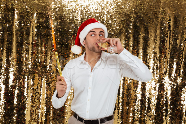 Portrait of a funny young man in christmas hat Stock photo © deandrobot