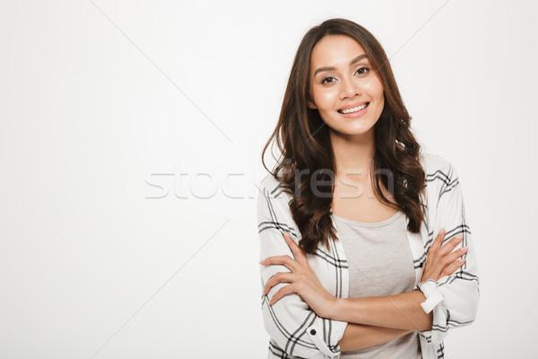 Portré fiatal nő fenséges mosoly áll kar Stock fotó © deandrobot