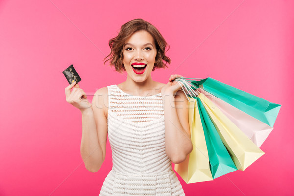 Stockfoto: Portret · gelukkig · meisje · jurk · creditcard