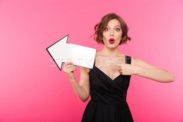 Portrait of a surprised girl dressed in black dress Stock photo © deandrobot