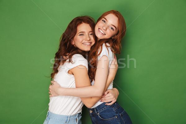 Dois belo gengibre mulheres 20s casual Foto stock © deandrobot