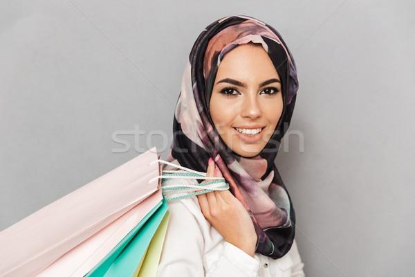 Portret szczęśliwy młodych arabski kobieta Zdjęcia stock © deandrobot