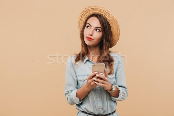 Ritratto pensieroso giovane ragazza estate vestiti Foto d'archivio © deandrobot