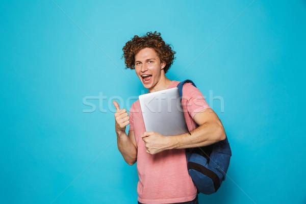 Fotó kaukázusi ifjonc fickó göndör haj visel Stock fotó © deandrobot