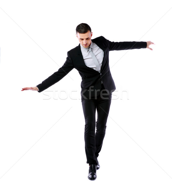 бизнесмен ходьбе невидимый веревку счастливым костюм Сток-фото © deandrobot