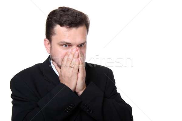 Isolated portrait of a frustrated business man  Stock photo © deandrobot
