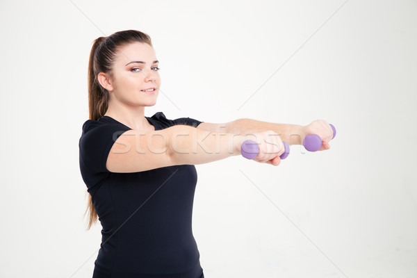 Smiling fat woman workout with dumbbells Stock photo © deandrobot