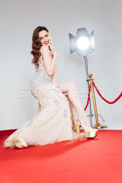 счастливым Cute женщину красный ковер портрет Сток-фото © deandrobot