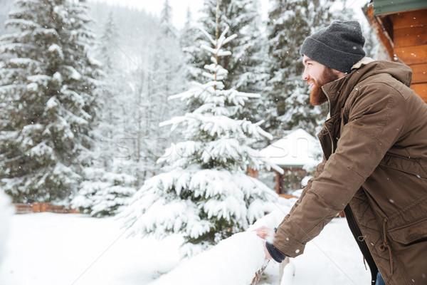 Foto d'archivio: Felice · uomo · barba · piedi · montagna · inverno
