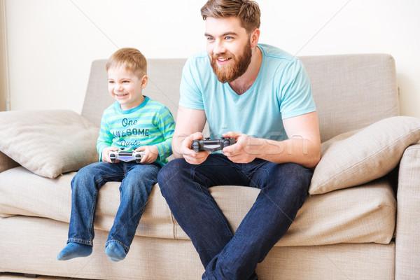 Photo stock: Jouer · ordinateur · jeux · père · maison