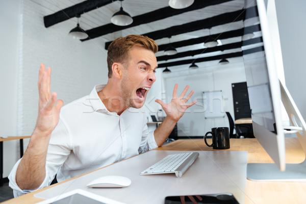 ビジネスマン 作業 コンピュータ 怒っ ストックフォト © deandrobot