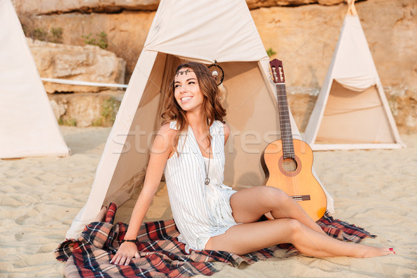 Happy young smiling girl at the campsite Stock photo © deandrobot