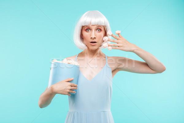 かなり ブロンド 若い女性 指 顔 ファッション ストックフォト © deandrobot
