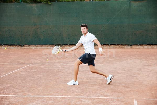Férfi teniszező tevékenység elöl kilátás férfi Stock fotó © deandrobot