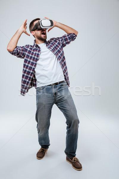 垂直 画像 あごひげを生やした 男 シャツ バーチャル ストックフォト © deandrobot