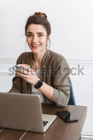 ストックフォト: ビジネス女性 · 話し · 電話 · 写真 · 幸せ · 黄色