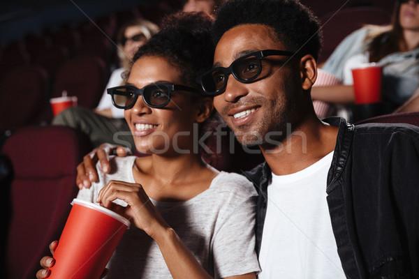 улыбаясь привлекательный афро американский пару смотрят Сток-фото © deandrobot