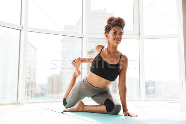 Konsantre sağlıklı kadın zor egzersiz Stok fotoğraf © deandrobot