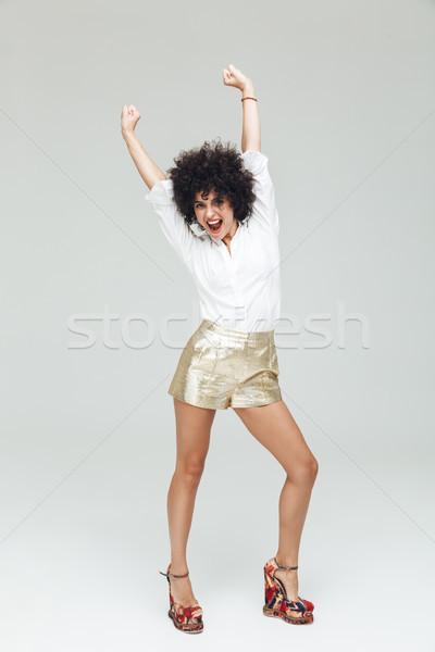 şaşırtıcı Retro kadın gömlek görüntü genç Stok fotoğraf © deandrobot