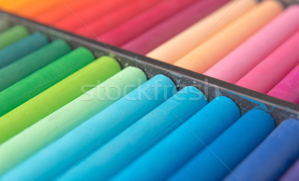 Close-up image of colorful chalk pastels in wooden box Stock photo © deandrobot