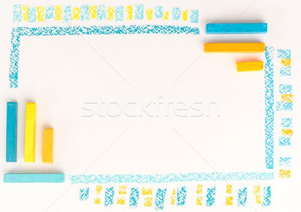 Kleur krijttekening gestreept lijn witte Stockfoto © deandrobot