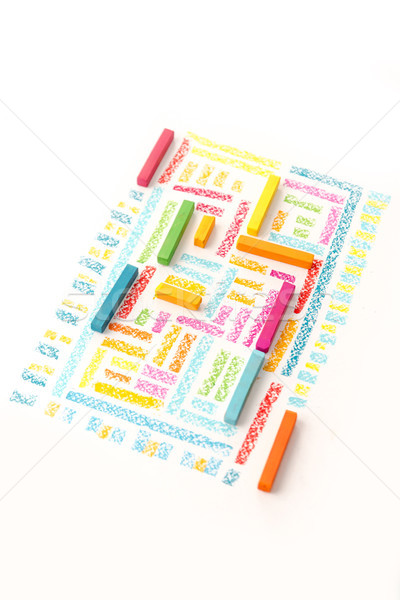 Photo of a cute geometric pattern made of colorful pastel chalks Stock photo © deandrobot