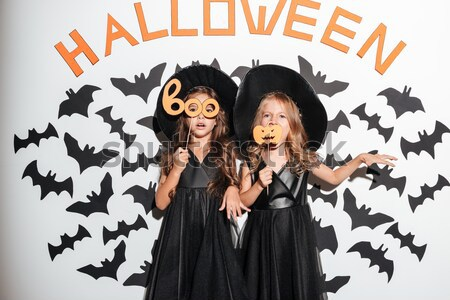 Women in halloween costumes on party Stock photo © deandrobot