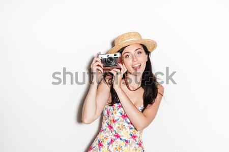 Stock foto: Lächelnd · Brünette · Frau · Foto · Retro