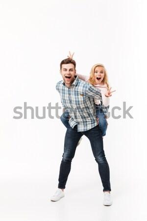 Tam uzunlukta görüntü iki neşeli kızlar ayakta Stok fotoğraf © deandrobot