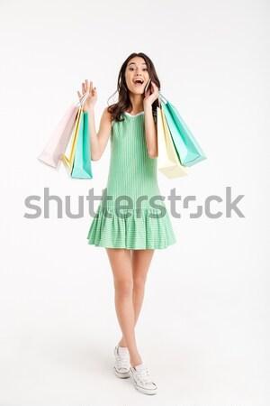 Portret tevreden meisje jurk praten Stockfoto © deandrobot