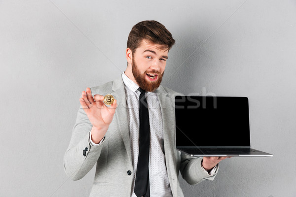 Retrato guapo empresario bitcoin Foto stock © deandrobot