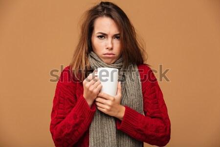 Portret ontdaan teleurgesteld meisje mobiele telefoon Stockfoto © deandrobot
