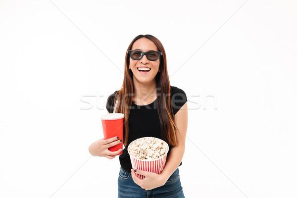 портрет смеясь девушки 3d очки попкорн Сток-фото © deandrobot