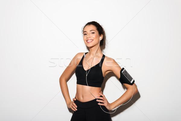 Сток-фото: брюнетка · Фитнес-женщины · прослушивании · музыку