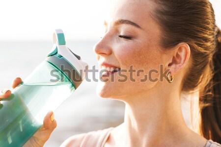 Foto stock: Feliz · jovem · água · potável · garrafa