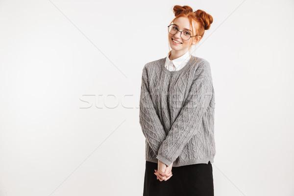 Portre gülen genç okul inek öğrenci kız Stok fotoğraf © deandrobot