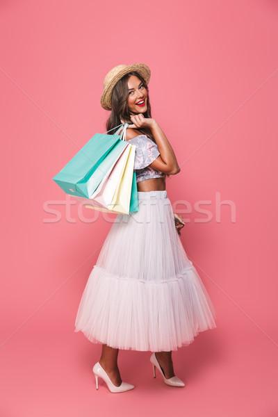 Teljes alakos portré meglepett vásárló nő 20-as évek Stock fotó © deandrobot